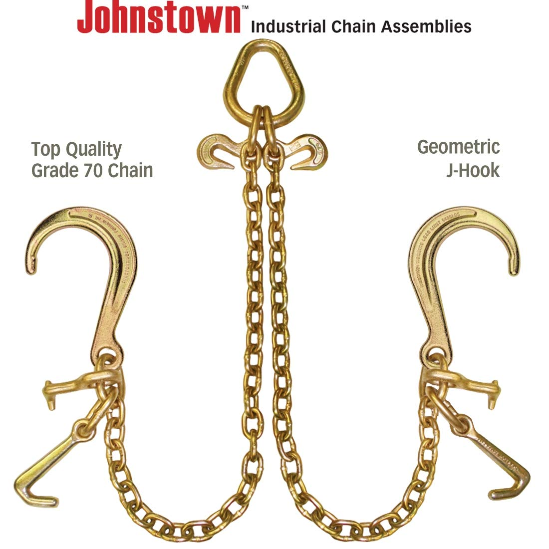 and Alloy T-Hooks 40 4700 lbs 4 Inch J-Hooks Johnstown Grade 70 Towing Chain Bridle with 8 SWL