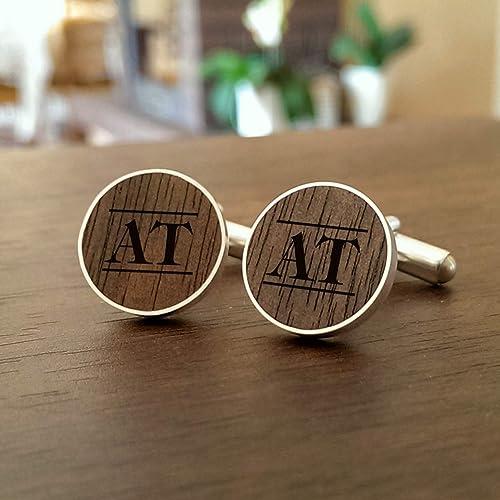 Amazon com: Custom Wooden cufflinks Wedding cufflinks Silver