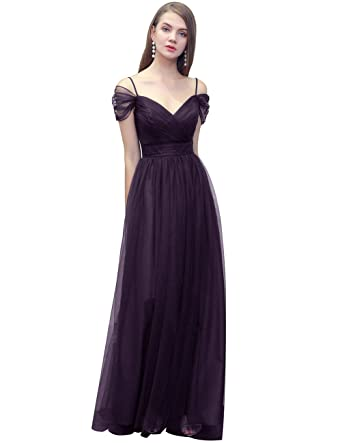 Bridesmay Women\'s Gorgeous Tulle Bridesmaid Dress Off Shoulder Prom ...