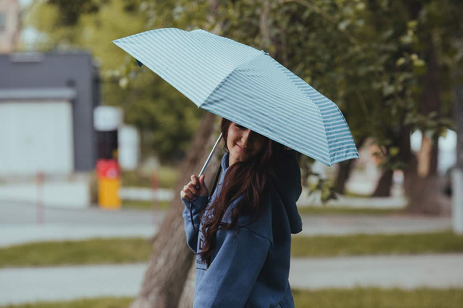 NEW SUSINO Small Mini Sun & Rain UV Protection Umbrella Lightweight Compact Travel for Women Kids Purse Backpack Mint Green/White by NEW SUSINO (Image #4)