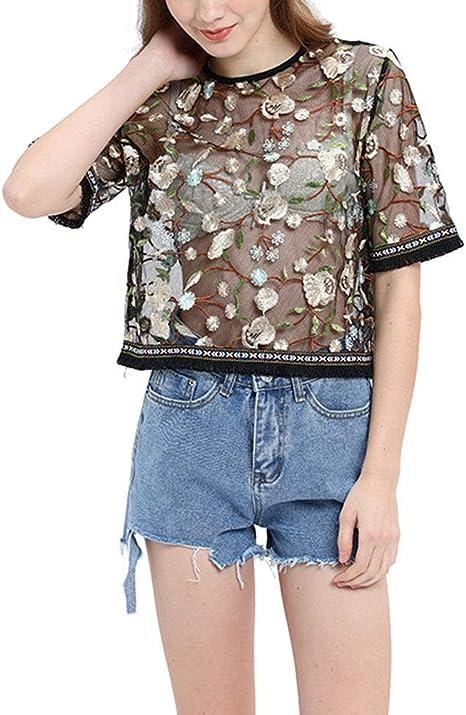 Mujer Verano Transparentes es Estilo Vintage Moda Camisas Relaxed rnas Ropa Festiva o Camisetas Anchos Patrón Shirt Manga Corta O Cuello Moda Hem Bra: Amazon.es: Ropa y accesorios