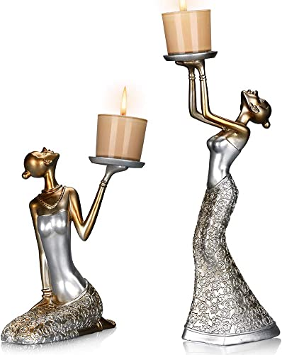 MRealGal Antique Beauty Decorative Candle Holders,Set of 2-Functional Coffee Table Decorations-Centerpiece