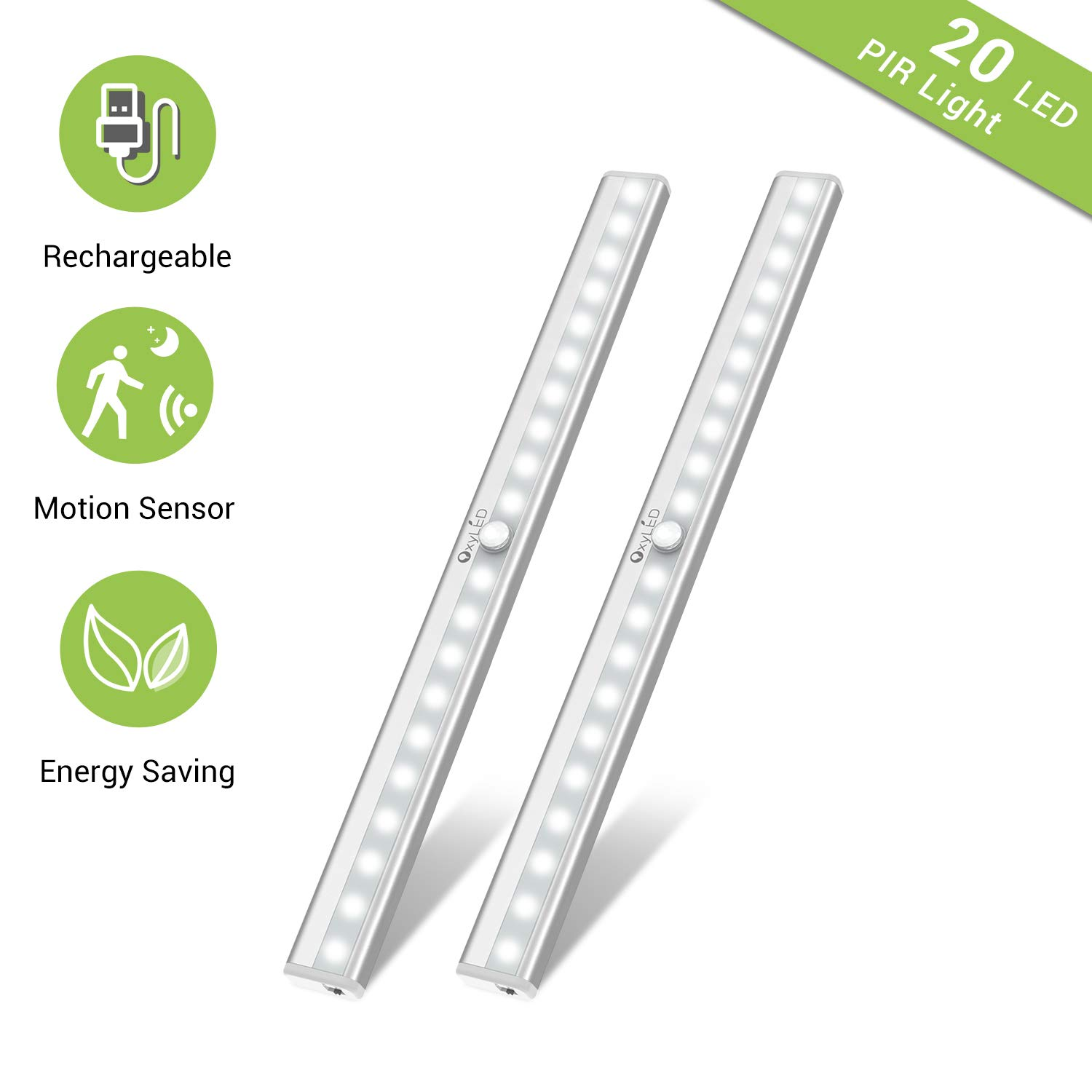 Under Cabinet Lighting, Motion Sensor Closet Lights OxyLED 20 LED USB Rechargeable Under Cabinet Lights Wireless Under Counter Lighting, Motion Led Light Bar for Closet, Cabinet T-02S, 2 Pack