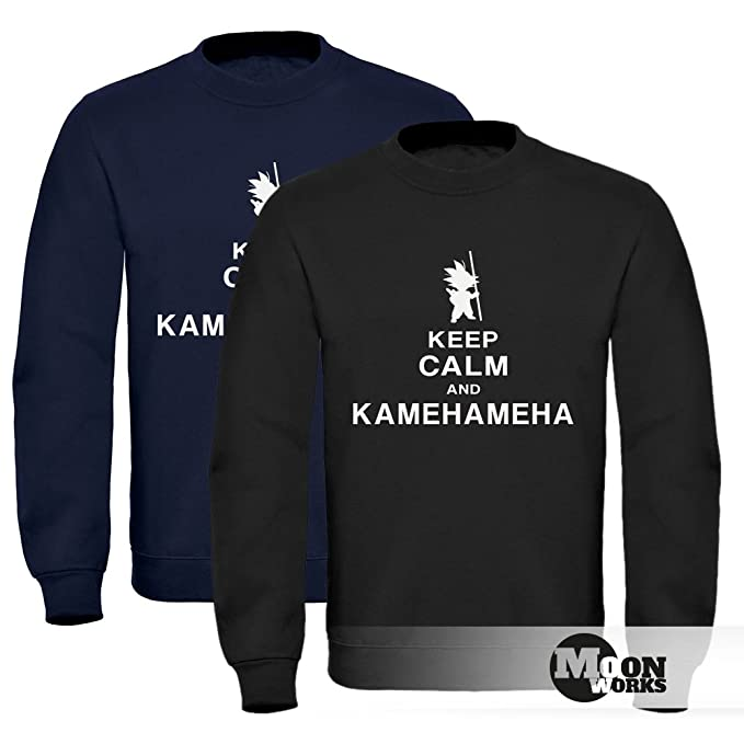 0aa9eb6df325 MoonWorks Sweatshirt Herren Keep Calm and Kamehameha Son Goku Dragonball  Pullover Ohne Kapuze  Amazon.de  Bekleidung
