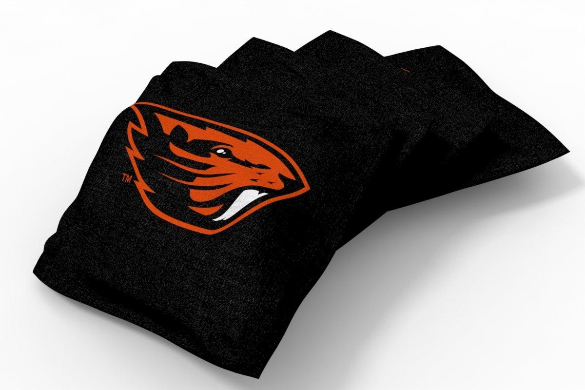 Wild Sports NCAA College Oregon State Beavers Black Authentic Cornhole Bean Bag Set (4 Pack)