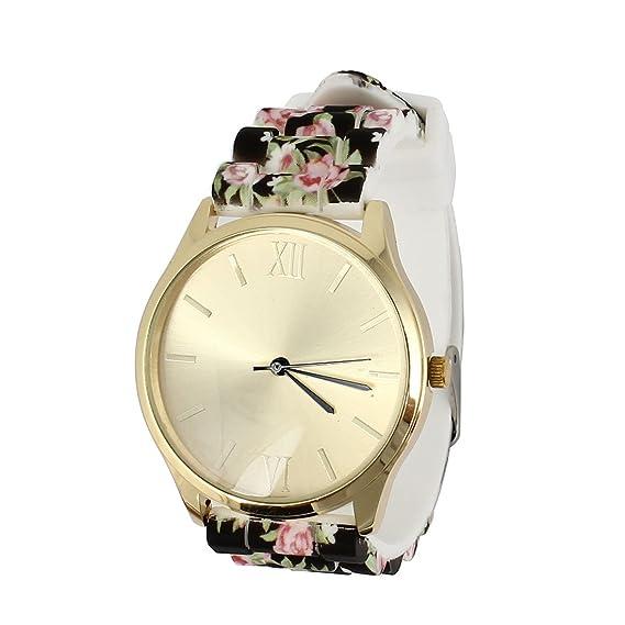 Damas Cuarzo Reloj de pulsera Relojes Mujer Reloj Wrist Watch Silicona Flores banda de oro tono