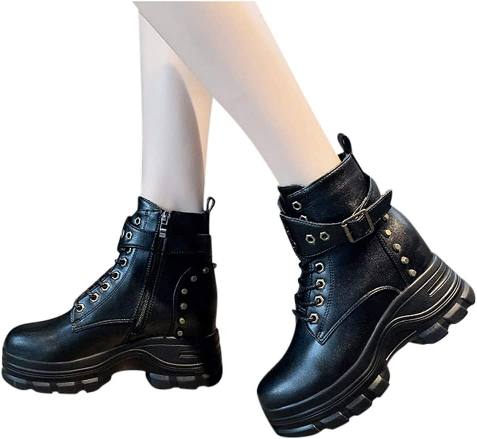 Armfre Womens Lace Up Patent Leather Boots Platform Mid Calf Combat Bootie Side Zipper Low Chunky Heel Short Boot Waterproof Casual Walking Shoes