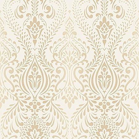 Superfresco Glamour Damask Print Subtle Glitter Cream Gold Wallpaper 101699