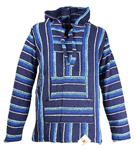 Funny Guy Mugs Premium Baja Hoodie Sweatshirt Pullover Jerga Poncho (Aquamarine, Large) (Beach Sweatshirt)