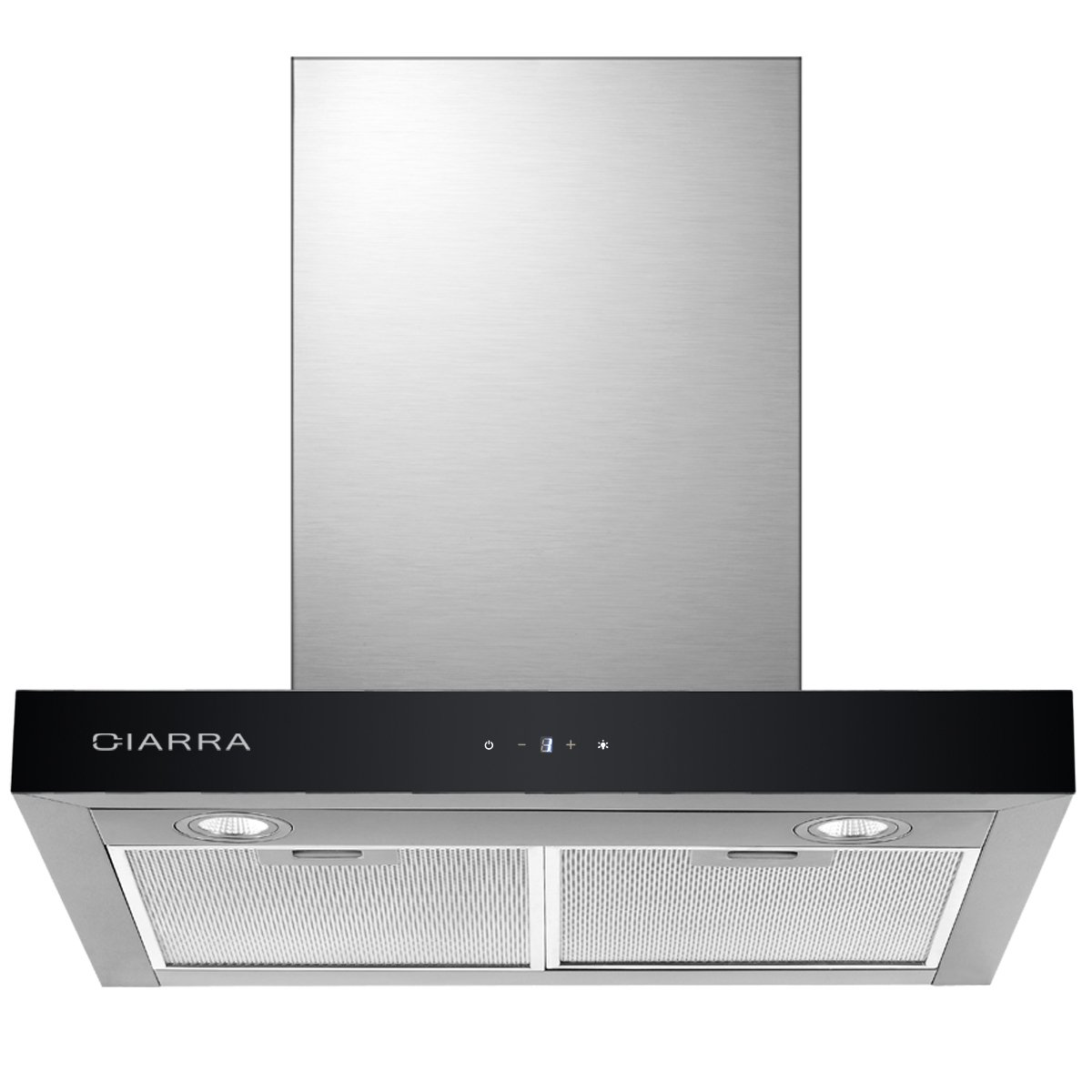 CIARRA Touch Control Chimney Cooker Hood 60 cm Wall Mounted Stove Range Hood Recirculating Kitchen Stainless Steel Extractor Fan (Silver) [Energy Class C]