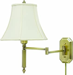 product image for House Of Troy WS-706-AB 16-1/2-Inch Swing Arm Wall Lamp, Antique Brass with Off-White Softback Shade