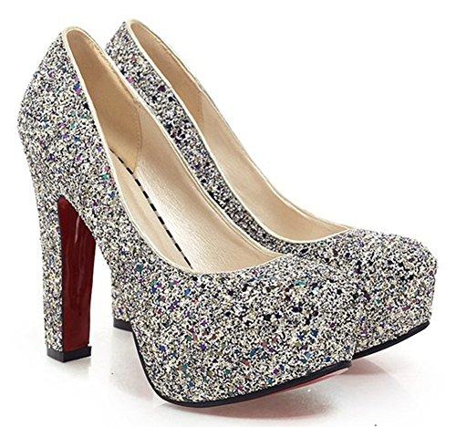 - SFNLD Women's Elegant Sequined Round Toe Platform High Chunky Heel Slip On Wedding Pumps Shoes Blue 7.5 B(M) US