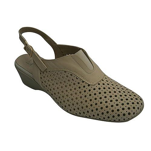 Pomares Vazquez Zapato Calado Mujer Abierto Atrás EN Beig Talla 39  Negro (Black) X93jFCOh5