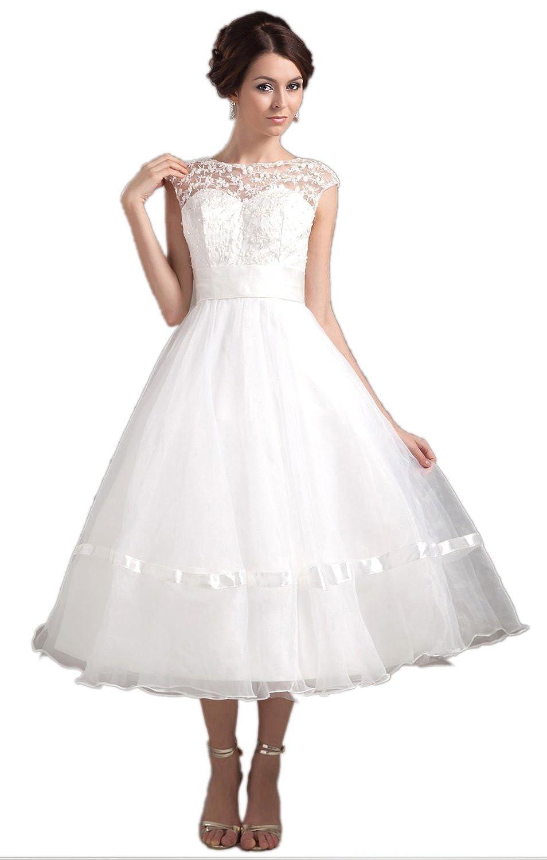 Amazon.com: Biggoldapple A-Line Bateau Tea-Length Backless Wedding ...