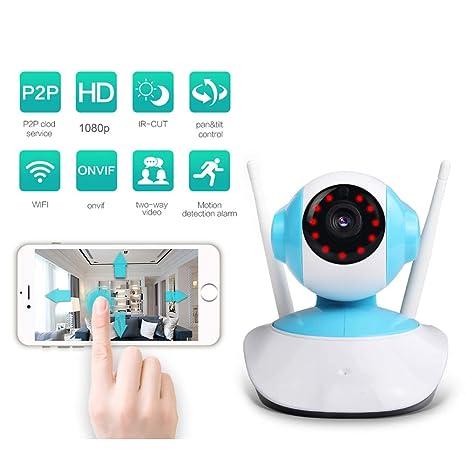 QLPP Cámara IP de vigilancia de Seguridad para el hogar WiFi HD 1080P con detección de ...