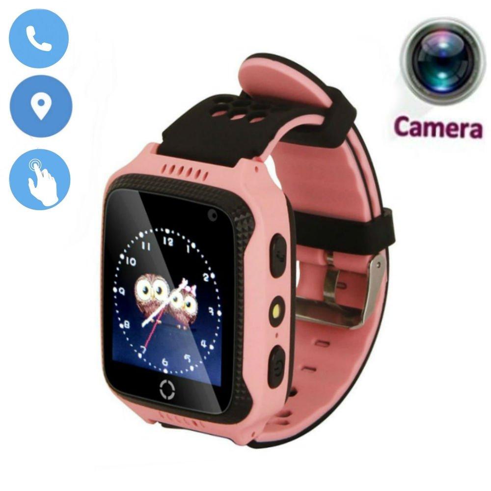 JUNEO 1.44 inch GPS Tracker Smart Watch, Touch Screen Watch Kids with High Pixel Camera SIM Calls Anti-lost Safety Monitor Flashlight SOS Wrist Watch Smart Bracelet (Pink)