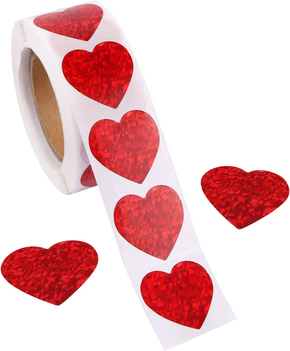 CABAX 1 inch Wide Glitter Heart Stickers Valentine's Love Decorative Stickers Valentine's Day Decorations Accessories,500 Pieces (1 Roll)