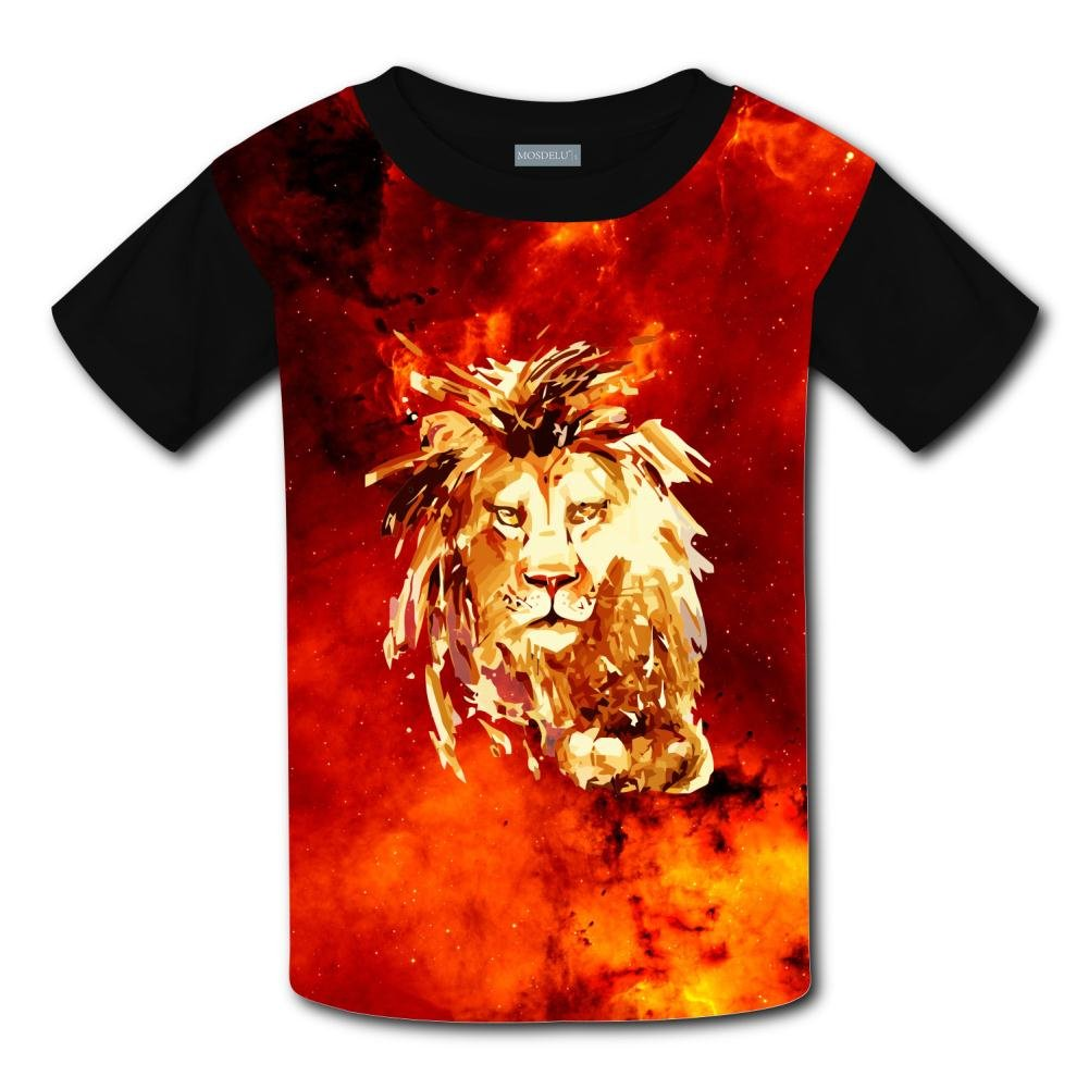 Elcacf Kids//Youth Blocky Abstract Lion T-Shirts Short Sleeve Children Tees
