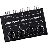 FITYLE Stereo Mini Mixer 4 Channel Audio Mixes 4 in 1 Out for TV/Phone/MP3/Mac Mini