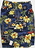 Boy's Shorts - Hibiscus Drag Racers Elastic Waistband Inside Drawcord Cotton Flap Pocket Shorts in Blue - 6
