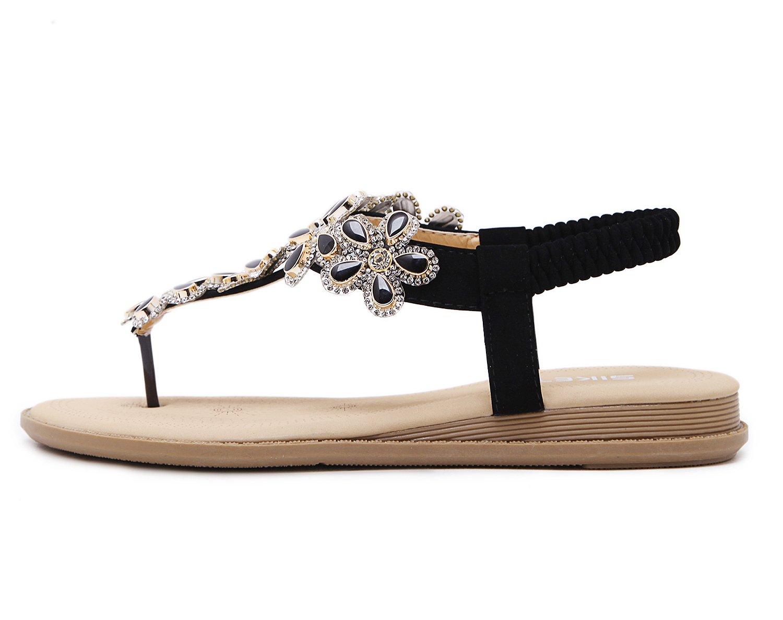 SANMIO Women Summer Flat Sandals Shoes,Bohemian T Strap Prime Thong Shoes Flip Flop Shoes