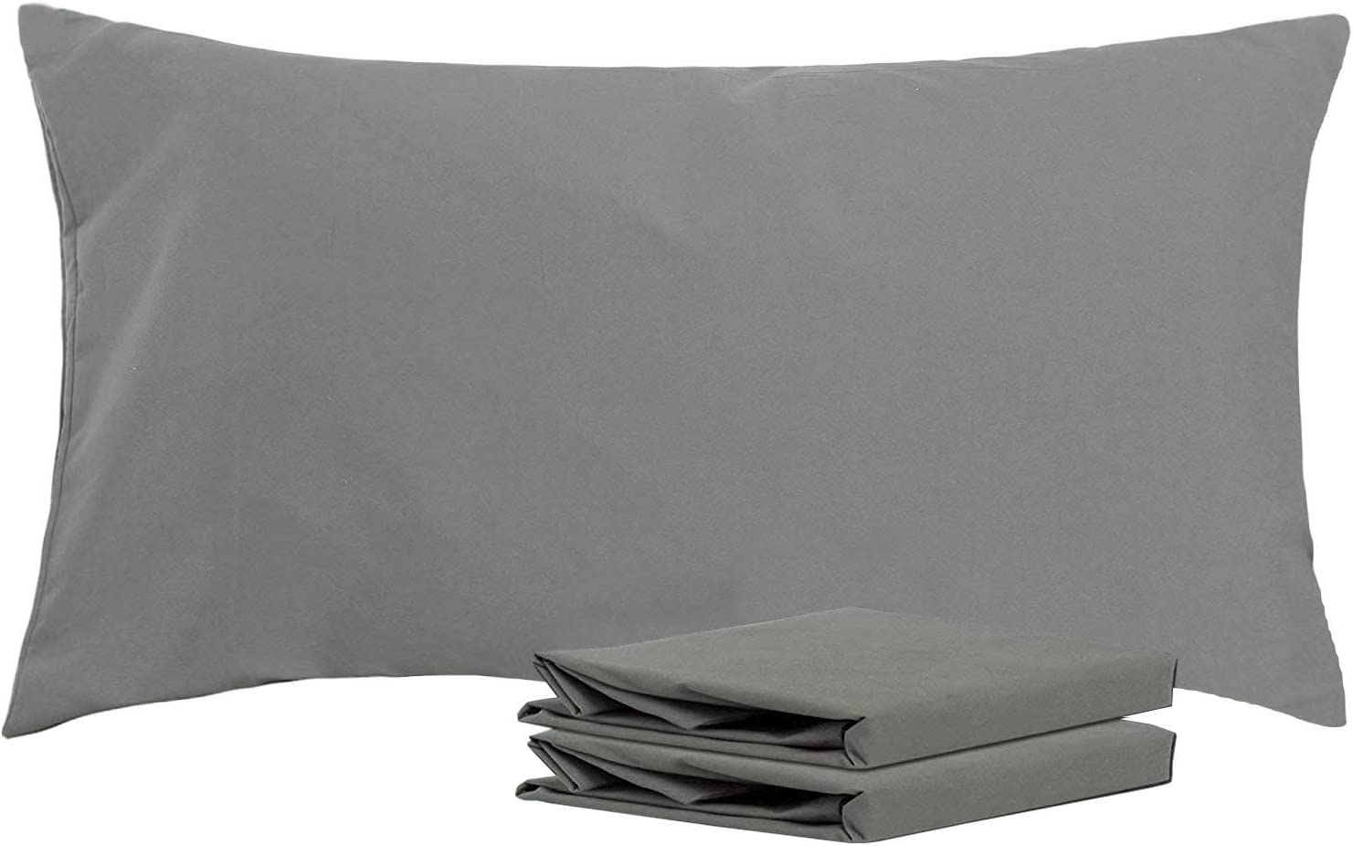 NTBAY King Pillowcases, Set of 2, 100% Brushed Microfiber, Soft and Cozy, Wrinkle, Fade, Stain Resistant,with Envelope Closure, Dark Grey