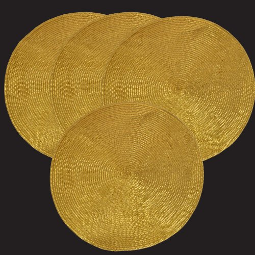 GinsonWare Set 4. Holiday Shiny Round Table Placemats, Silver/Gold Color. #96-006 (Gold)