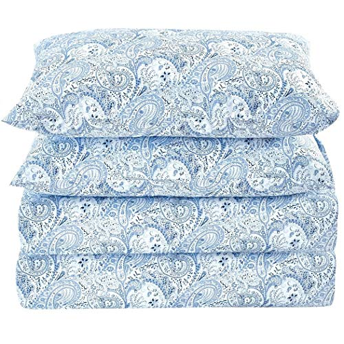 Mellanni Bed Sheet Set Brushed Microfiber 1800 Bedding - Wrinkle, Fade, Stain Resistant - Hypoallergenic - 4 Piece (Queen, Paisley Blue)