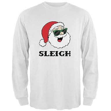 d715630f1ef Old Glory Christmas Santa Sunglasses Sleigh Slay Mens Long Sleeve T Shirt  White SM