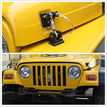 Amazon Com Jecar Tj Hood Latches Stainless Steel Hood Lock Catch Latches Kit For Jeep Wrangler Tj 1997 1998 1999 2000 2001 2002 2003 2004 2005 2006 Automotive