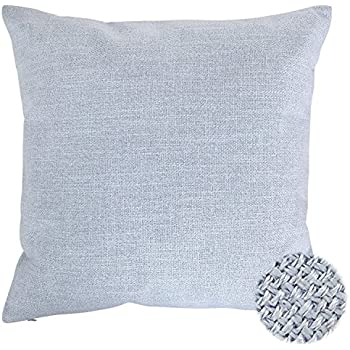 Deconovo Faux Linen Look Hand Made Pillow Case Cushion Cover With Invisible Zipper For Sofa, 18x18-inch, Light Sky Blue