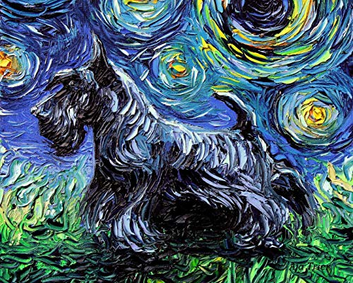 Scotty Scottish Terrier Starry Night Rectangle Art Print Cute dog artwork by Aja cute colorful van Gogh wall decor choose size and type of paper