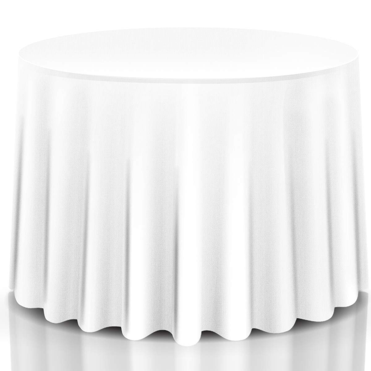 Giantex 10 Pcs Round White Tablecloth 90-Inch, Premium Polyester Table Cover, Machine Washable, Durable Table Cloths for Wedding Reception Restaurant Banquet Party
