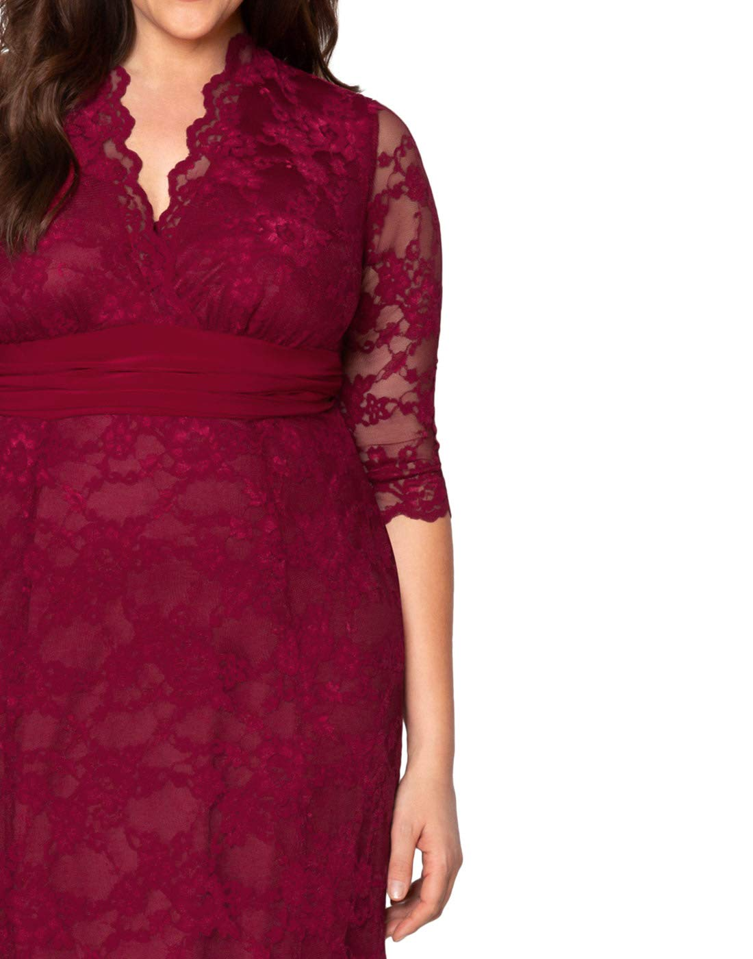 39df0eba8f0 ... Plus Kiyonna Women s Plus Size Screen Siren Lace Gown 5x Rose Wine.   