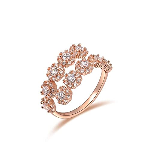 ROXI Damen Ring, Größe verstellbar, vergoldet mit Roségold, Österreichische Kristalle, Tennis-Stil, Legierung
