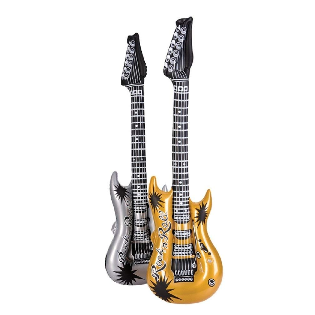 """Rhode Island Novelty 42"""" Gold and Silver Rock Guitar Inflatables 
