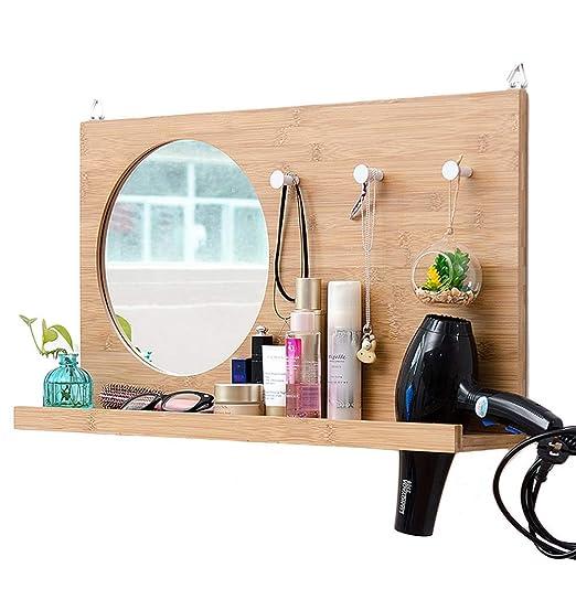AYHa Perchero Espejo de baño montado en la pared con 3 ...