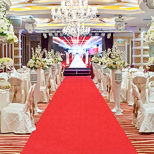 Jeteven Red Carpet Runner Wedding Red Carpet Floor, Essential Hollywood and Christmas Party Decoration Disposable Red Rug, Ceremony Parties and Events Indoor or Outdoor Decoration (12m x 1m)]()