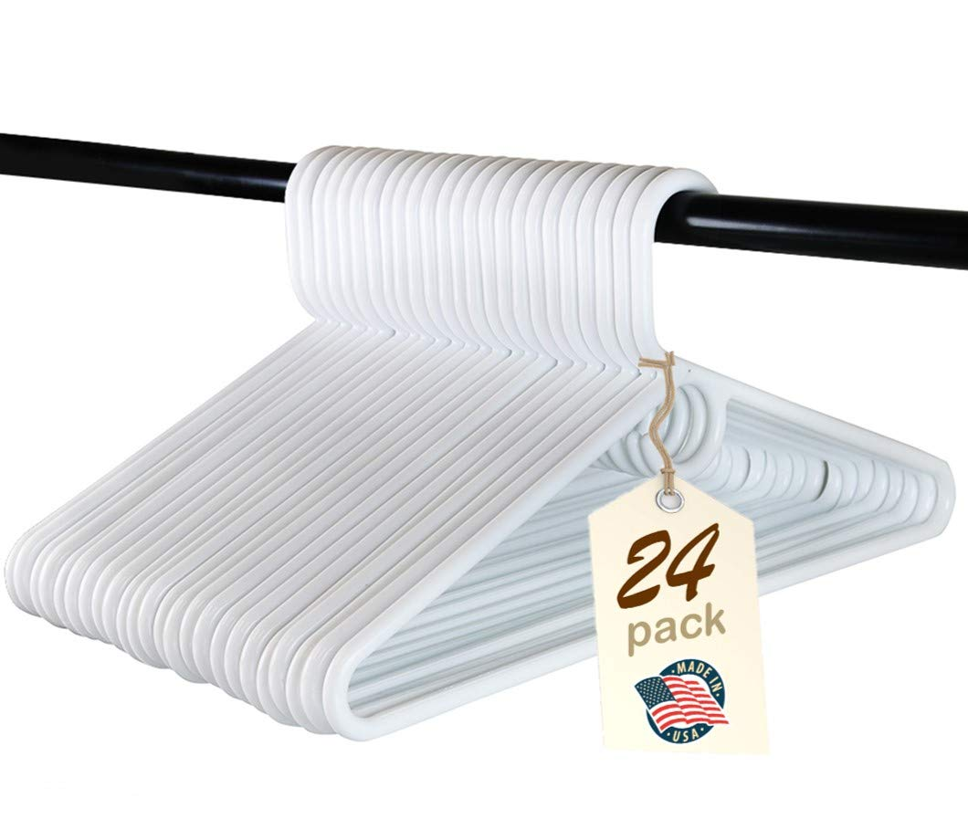Heavy Duty White Plastic Tubular Hangers, Adult Size, Set of 24 Made in The USA (Heavy Duty)