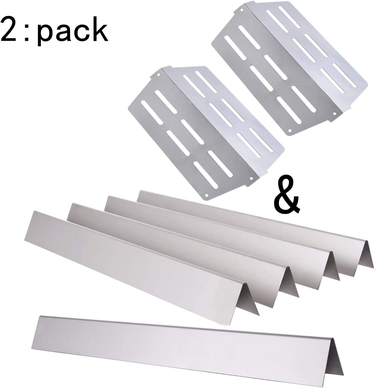 """GasSaf Set of 5 Stainless Steel Flavorizer Bars Replacement for Weber Genesis 300, E310, S310, E330, EP310, EP320, EP330, S310, S330 Series Grill(17.5"""" x 2.25"""" x 2.375"""") : Garden & Outdoor"""