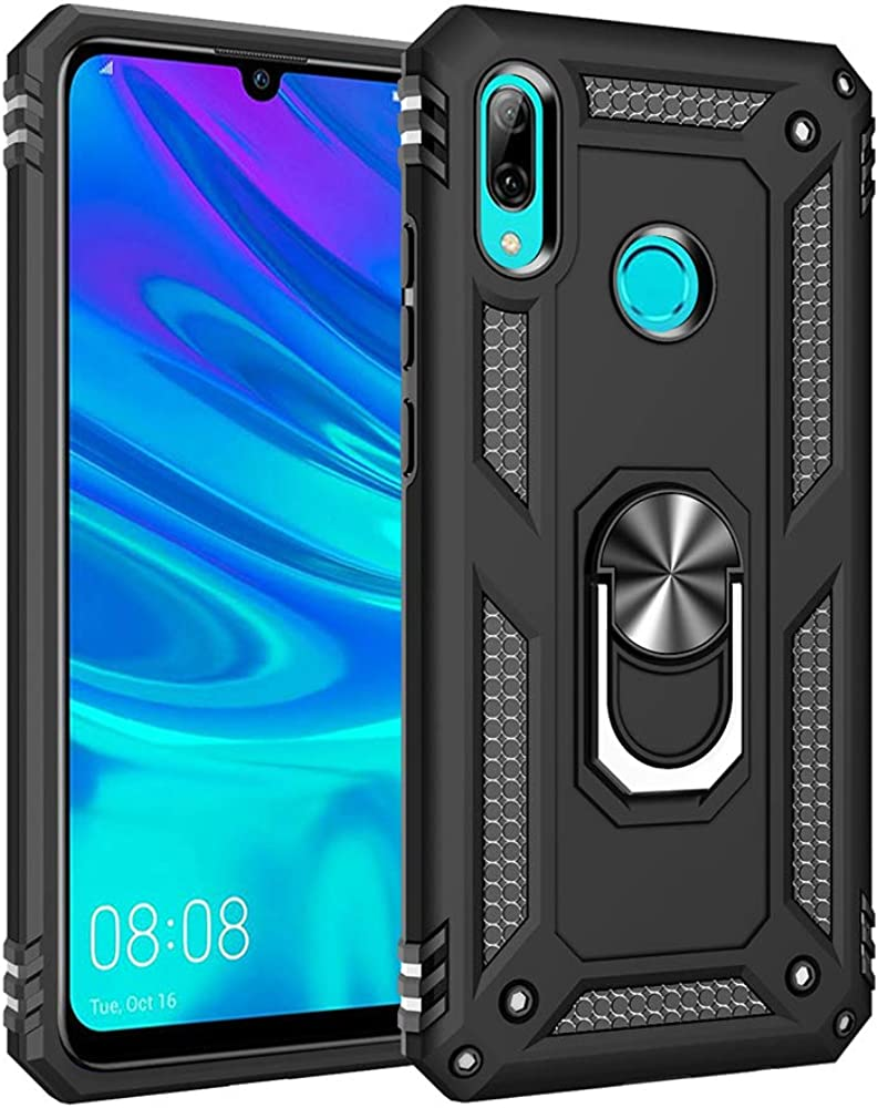 for Huawei P Smart 2019//Honor 10 Lite case Hard Shell Military Protective Cover with Holder 360/° Ring for Magnetic Car Mount
