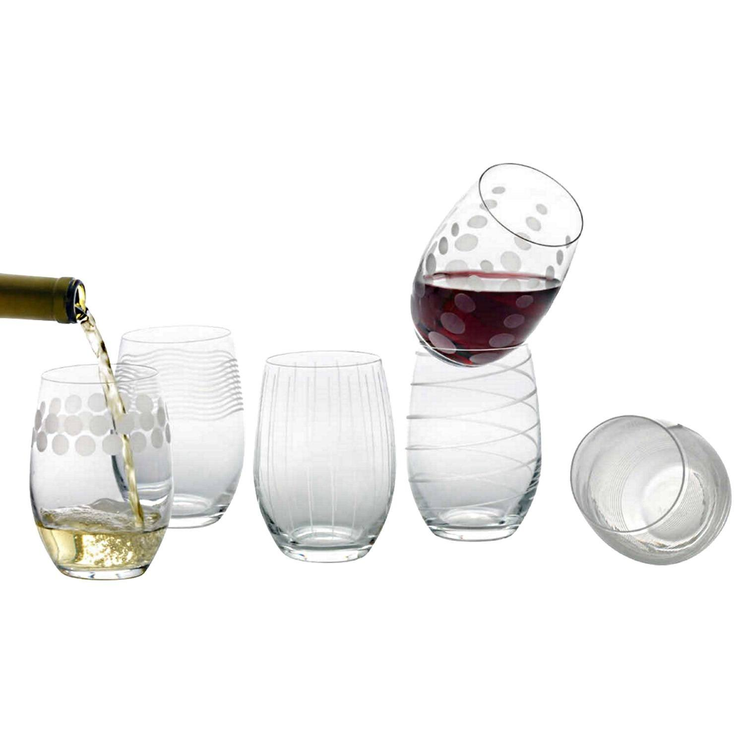 Mikasa Cheers Stemless Etched Wine Glasses, Fine European Lead-Free Crystal, 17-Ounces for Red or White Wine - Set of 6 by Mikasa (Image #2)