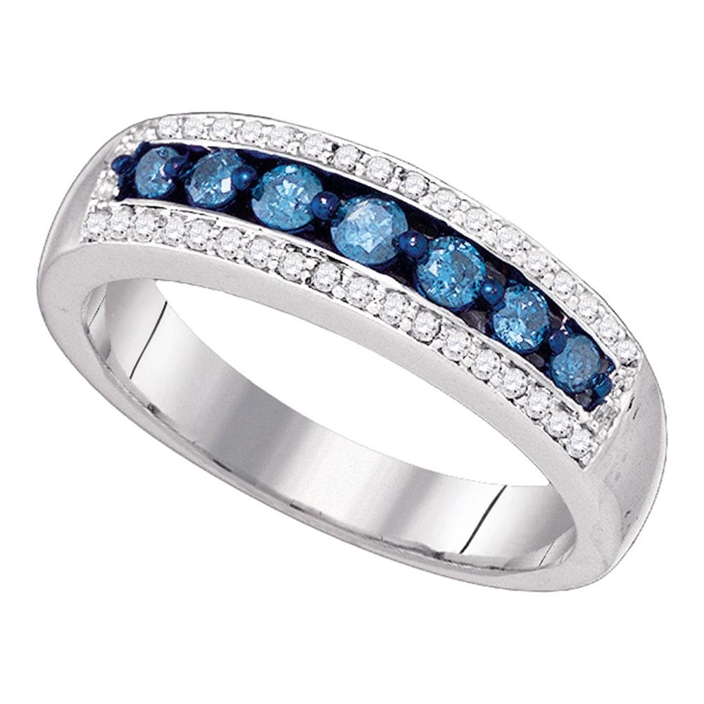 Blue Diamond Wedding Band Solid 10k White Gold Fashion Ring Anniversary Style Round Channel Set 1/2 ctw by GemApex