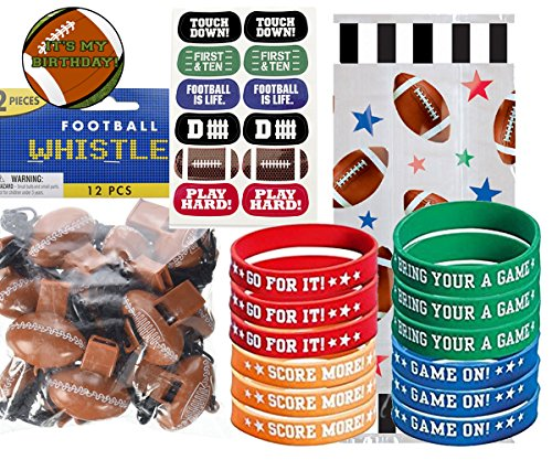Football Party Favors for 12 - Football Wristbands, Football Whistles, Football Kids Face Tattoos and Football Birthday Sticker