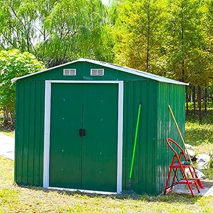 Metal FoxHunter caseta de jardín al aire libre de almacenamiento dry 304,8 cm X 243,84 cm incluye Foundation verde: Amazon.es: Jardín