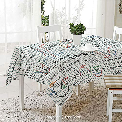 AmaUncle 3D Dinner Print Tablecloths Algebra Studies Lesson Notebook Page Sketches Formula Print Decorative Kitchen Rectangular Table Cover (W60 xL104)
