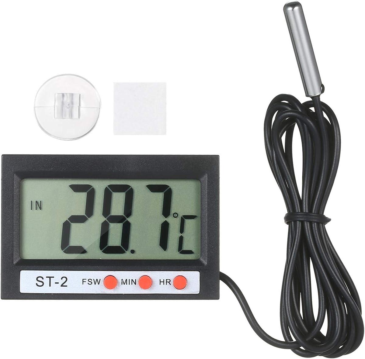 Kshzmoto LCD Digital Acuario Term/ómetro Terrario Term/ómetro Medidor de Temperatura del Tanque de Peces Monitor de Temperatura con bot/ón de sonda Cinta de Celdas Ventosa para refrigerador Refrigerador