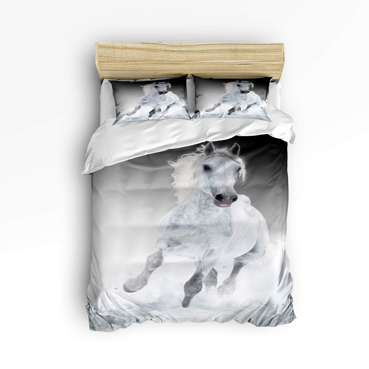 YEHO アートギャラリー フルサイズ 3ピース かわいい羽毛布団カバーセット ツイルフラシ天 ソフト寝具セット 子供 女の子 男の子用 クールホワイト 馬 動物 パターン 掛け布団カバー 1 枚と枕カバー 2 枚入り B07KT7LFRZ