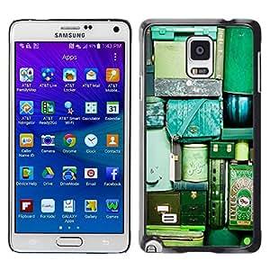 TopCaseStore / la caja del caucho duro de la cubierta de protección de la piel - Travel Bags Luggage Green Teal Vignette - Samsung Galaxy Note 4 SM-N910