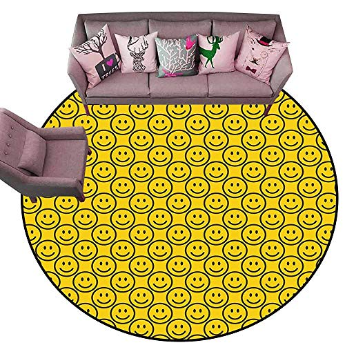 - Entrance Modern Area Rugs Emoji,Flat Smiley Faces Expressing Happiness in Diagonal Order Joyful Childhood,Yellow Dark Army Green Diameter 78